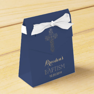 Baptism, Christening Favor Box - Gold Cross