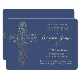 Baptism, Christening Invitation, Gold Cross Invite