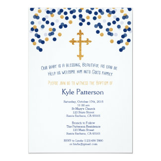 Baptism, Christening Invitation in Navy and Gold