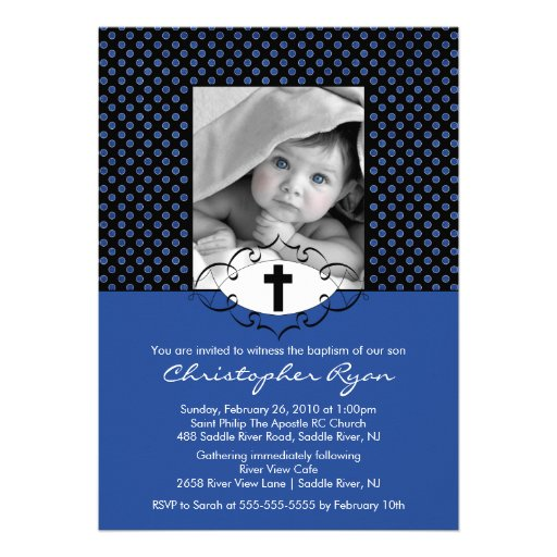 Baptism Christening Invitations Photo Blue & Black