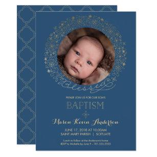 Boy christening baptism invitations zazzle baptism christening photo invitation boys invite stopboris Choice Image
