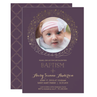Baptism, Christening Photo Invitation, Girl's Card