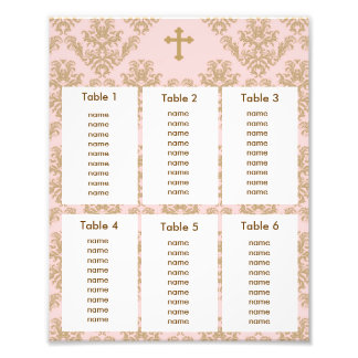 Baptism Christening Seating Chart Gold Pink Damask Photo Print