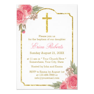 Baptism Christening Vintage Floral Gold Framed Card