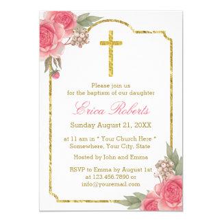 Baptism Christening Vintage Floral Gold Framed Card