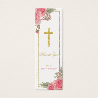 Baptism Christening Vintage Floral Thank You Tag Mini Business Card