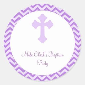 Baptism | Confirmation Chevron Purple Round Label Round Sticker