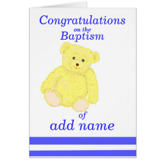 Baptism congratulations card Boy name front