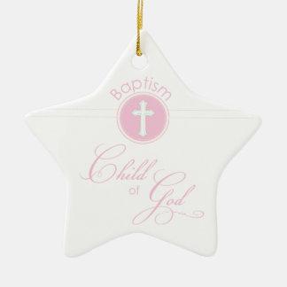 Baptism Congratulations Pink Child of God Ceramic Star Decoration