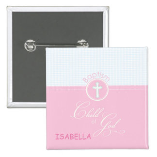 Baptism Congratulations Pink Child of God, Gift 15 Cm Square Badge