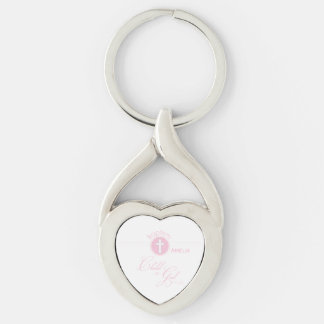 Baptism Congratulations Pink Child of God Silver-Colored Twisted Heart Key Ring