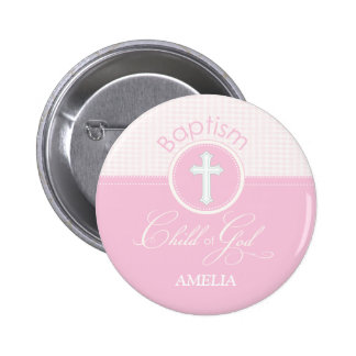 Baptism Congratulations Pink, Round Gifts 6 Cm Round Badge