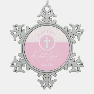 Baptism Congratulations Pink, Round Gifts Pewter Snowflake Decoration
