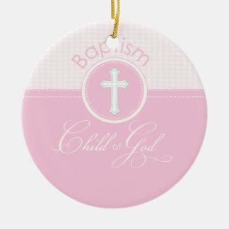 Baptism Congratulations Pink, Round Gifts Round Ceramic Decoration