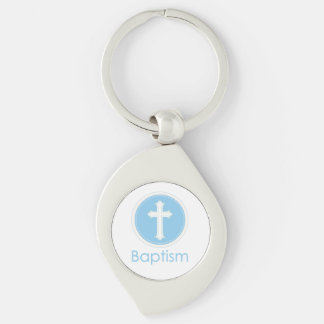 Baptism, Custom Name, Blue Child of God Silver-Colored Swirl Key Ring