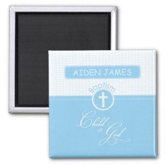 Baptism, Custom Name, Blue Child of God Square Magnet