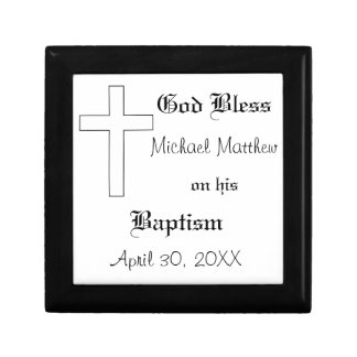 Baptism, Customize Name & Date Small Square Gift Box