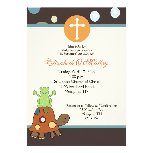 Baptism Dedication 5x7 Frog & Turtle Invitation