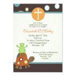 Baptism Dedication 5x7 Frog & Turtle Invitation 13 Cm X 18 Cm Invitation Card