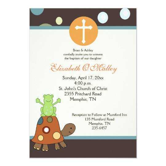 Baptism Dedication 5x7 Frog & Turtle Invitation