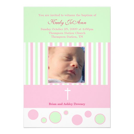Baptism Dedication Girl Pink Green Bubbles Personalized Invitation