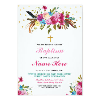 Baptism Floral Christening Gold Feathers Invite