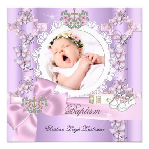 Baptism Girl Lilac Pink White Photo Christening Personalized Invites