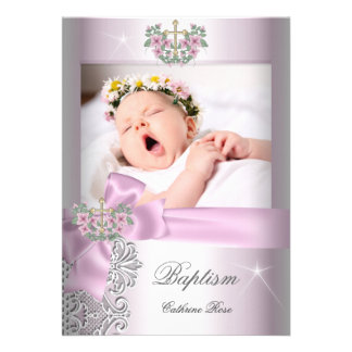 Baptism Girl Pink White Lace Photo Christening Personalized Invite