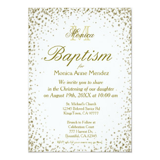 Baptism | Gold Confetti 13 Cm X 18 Cm Invitation Card
