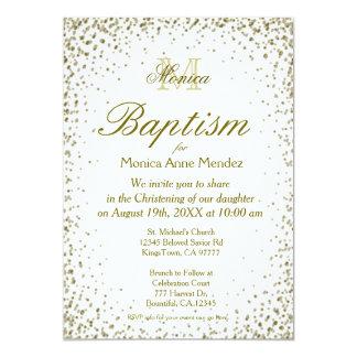 Baptism | Gold Confetti 13 Cm X 18 Cm Invitation Card