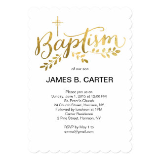 Baptism Gold Foil Cross Invitation