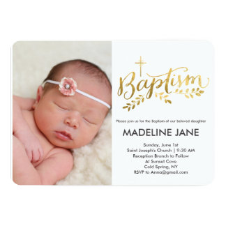 Baptism Gold Foil Leaves Card