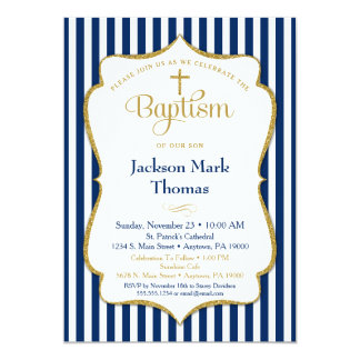 Baptism Invitation Boys Navy Blue Gold Elegant