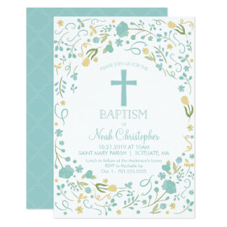 Baptism Invitation, Christening Invite, Boy, Cross Card