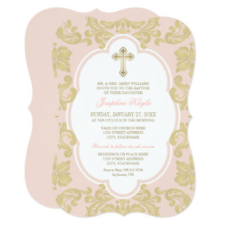 Baptism Invitation | Elegant Gold Flourish
