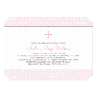 Baptism Invitations for Baby Girl | Pink Pattern