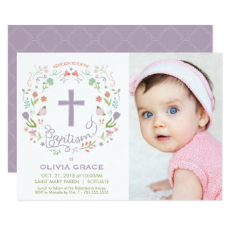 Baptism Invite for Girl - Photo, Custom, Pretty