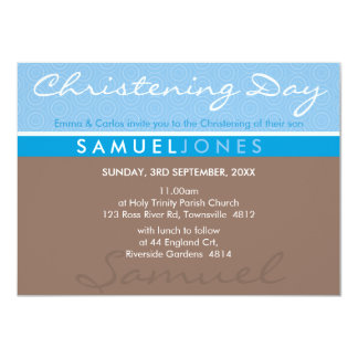 BAPTISM INVITE modern simple groovy blue mocha