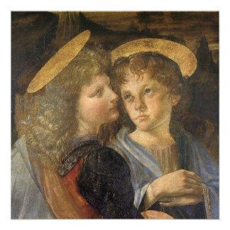 Baptism of Christ angel detail Leonardo da Vinci Personalized Invitation
