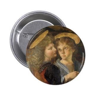 Baptism of Christ Angels by Leonardo da Vinci Pinback Buttons