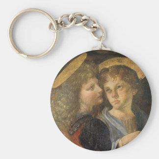 Baptism of Christ Angels by Leonardo da Vinci Basic Round Button Key Ring