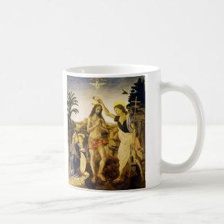 Baptism of Christ by Da Vinci and Verrocchio Basic White Mug