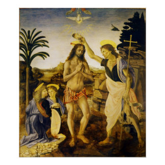 Baptism of Christ by Da Vinci and Verrocchio Poster