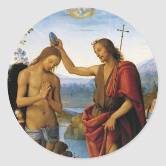 Baptism of Christ by Pietro Perugino Classic Round Sticker