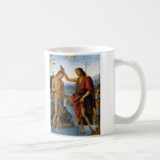 Baptism of Christ by Pietro Perugino Basic White Mug