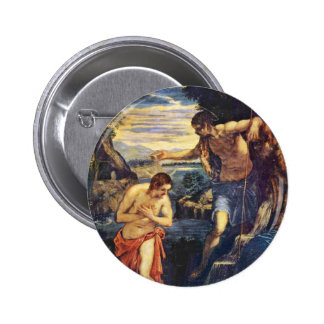 Baptism Of Christ By Tintoretto Jacopo (Best Quali Button