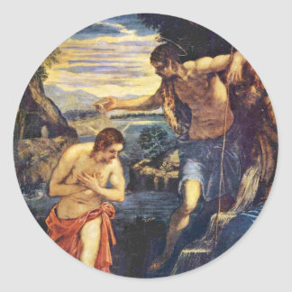 Baptism Of Christ By Tintoretto Jacopo (Best Quali Classic Round Sticker