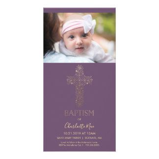 Baptism Photo Card - Girl's Custom w/ Gold Cross