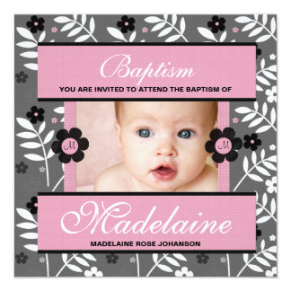 "Baptism Photo Invitation for Baby Girl Monogrammed 5.25"" Square Invitation Card"
