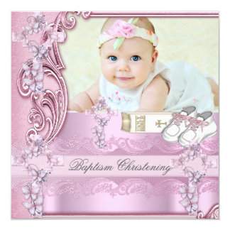 Baptism Pink Cross Girl Photo christening 13 Cm X 13 Cm Square Invitation Card
